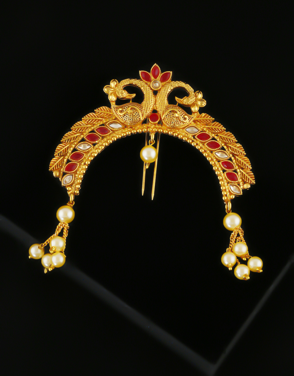 Traditional Gold Finish Red Colour Peacock Design Hair Bun Pin Jewellery