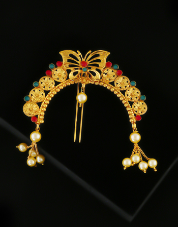 Multi Colour Gold Finish Butterfly Design Hair Ambada Pin