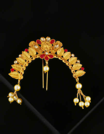 Red Colour Gold Finish Styled With Moti Beads Hair Pin
