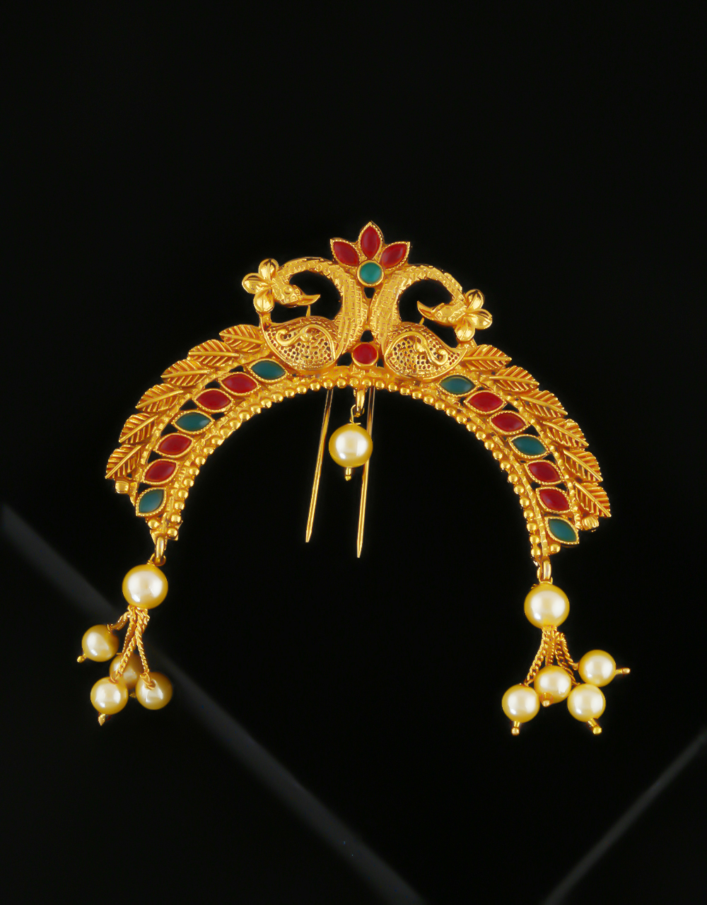 Multi Colour Traditional Gold Finish Peacock Design Hair Accessories