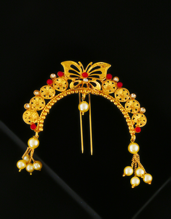 Red Colour Gold Finish Butterfly Design Traditional Ambada Pin