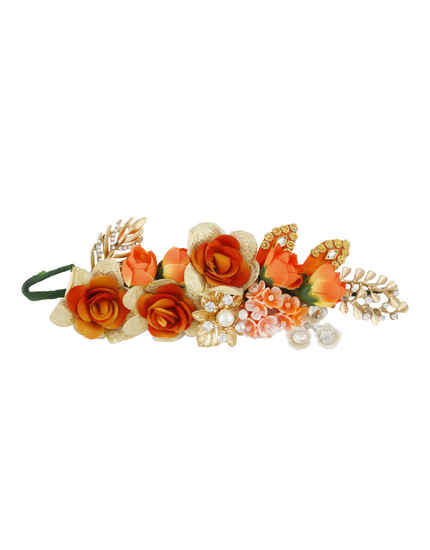 Orange Colour Flower Styled Fancy Hair Accessories