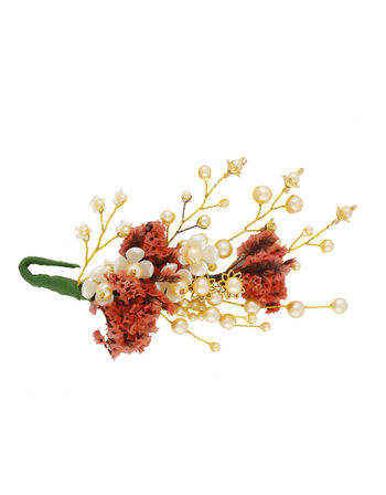 Orange Colour Pearls Styled Fancy Moti Hair Accessories