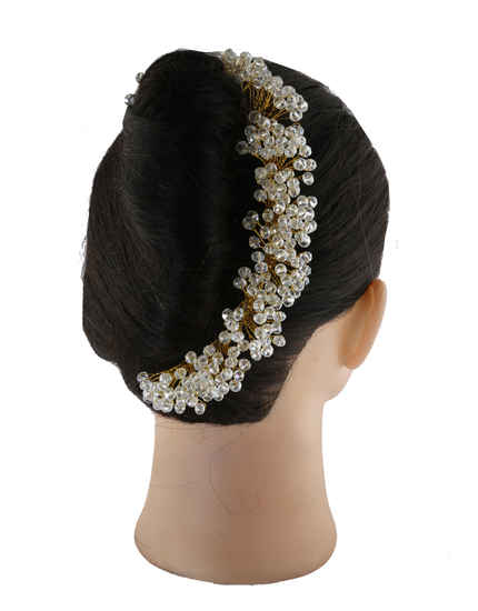 Beautiful Gold Finish Hair Accessories Styled With Beads Hair Jewellery