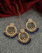 Blue Colour Antique Gold Finish Chandbali Earring For Girls