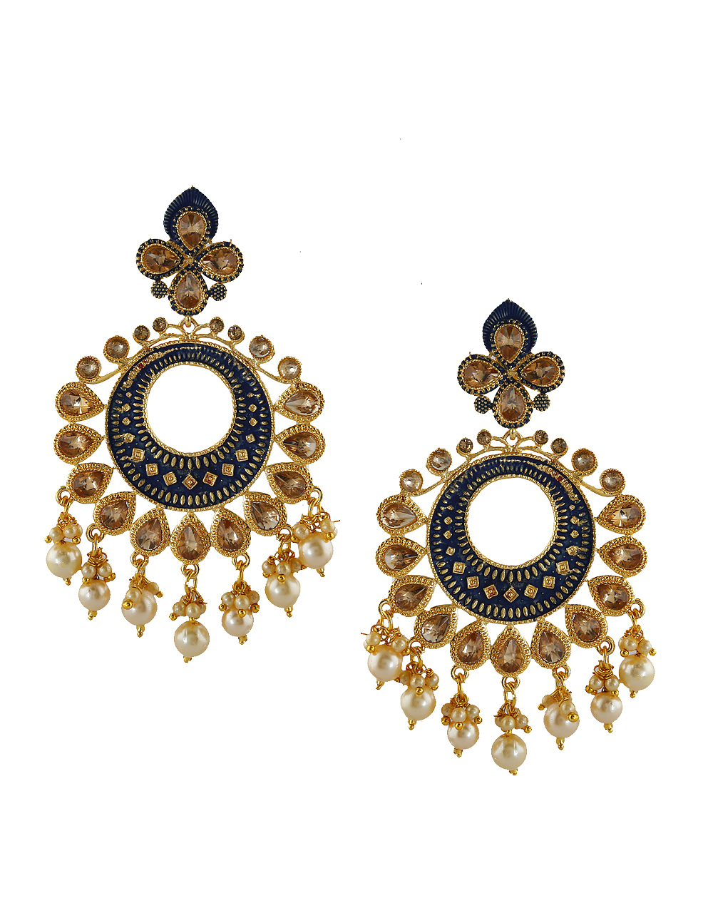 Blue Colour Gold Finish Studded With Stones Fancy Earrings
