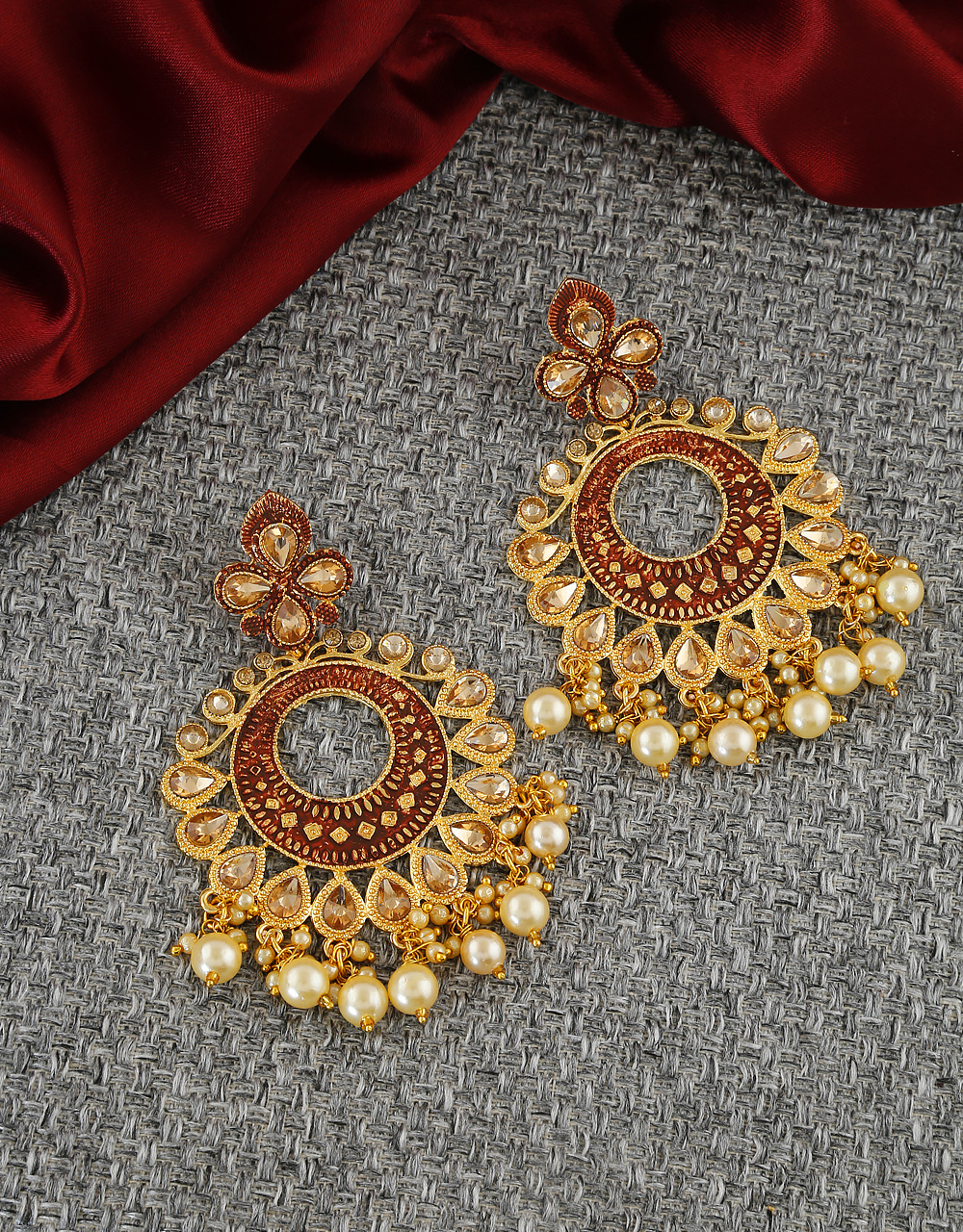 Brown Colour Antique Gold Finish Wedding Earrings