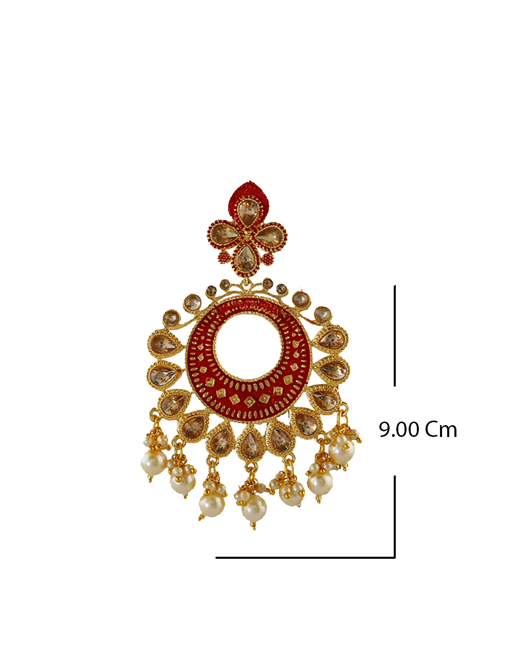 Red Colour Antique Gold Finish Traditional Fancy Earrings