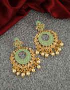 Fancy Green Colour Gold Finish Pearls Styled Fancy Earrings