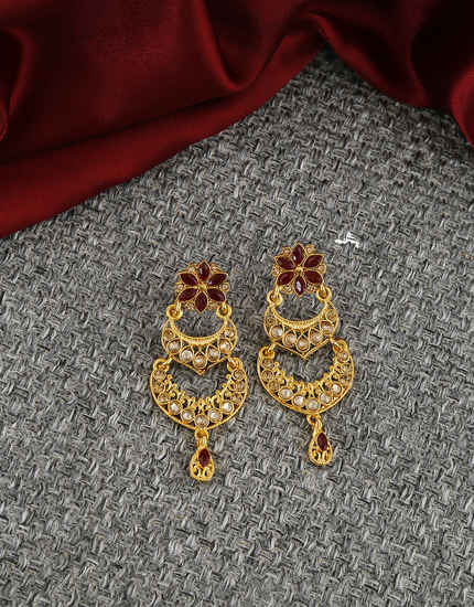 Maroon Colour Floral Design Traditional Fancy Earrings