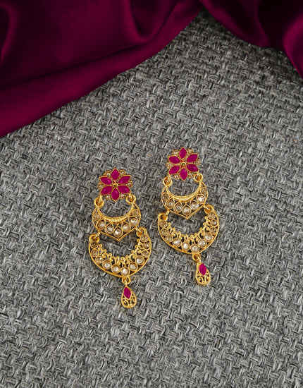 Pink Colour Gold Finish Floral Design Fancy Wedding Earrings
