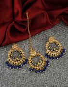 Blue Colour Antique Gold Finish Stunning Chandbali Earrings