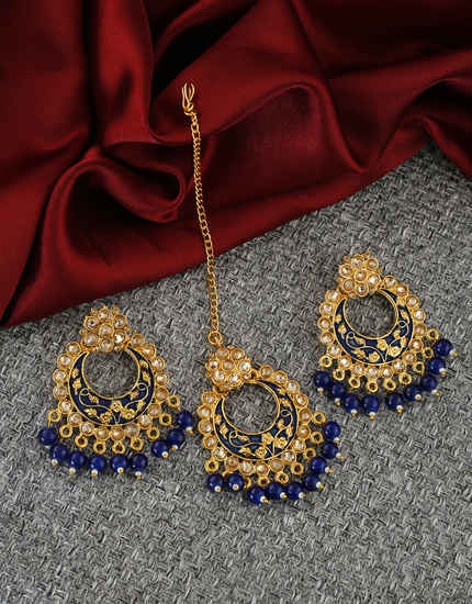 Blue Colour Antique Gold Finish Stunning Chandbali Earrings