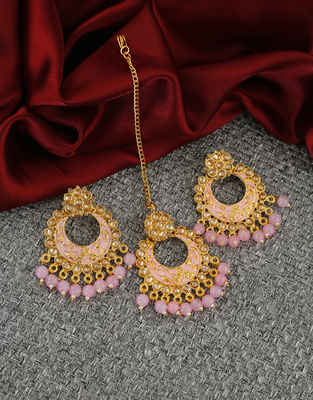 Pink Colour Antique Gold Finish Fancy Wedding Mang Tika Earrings Set