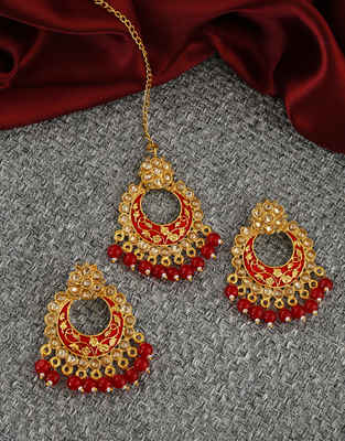 Red Colour Fancy Antique Gold Finish Fancy Traditional Earrings