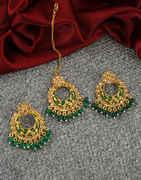 Green Colour Antique Gold Finish Chandbali Earrings For Girls