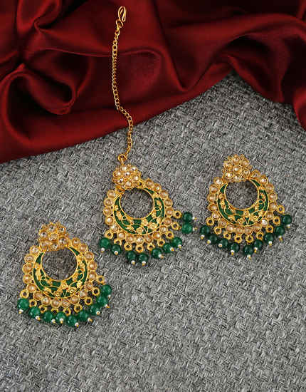 Green Colour Antique Gold Finish Chandbali Earrings For Girls