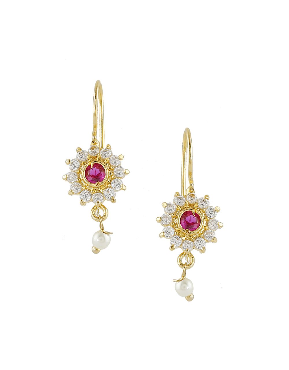 Floral Design Pink Colour Stunning Bugadi Earring For Women