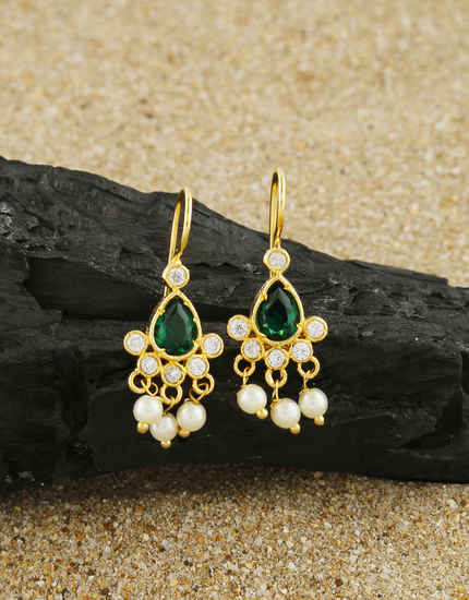 Simple Green Colour Pearls Styled Stunning Bugadi Earrings