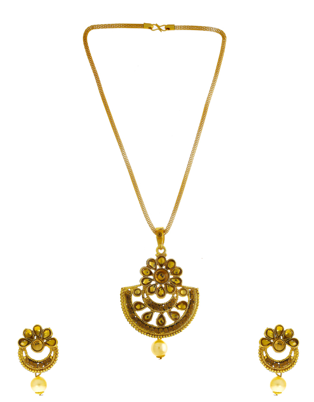 Floral Design Gold Finish Studded With Stones Fancy Pendant Set