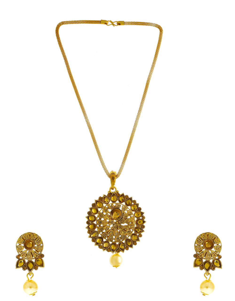 Designer Antique Gold Finish Fancy Necklace Pendant Set