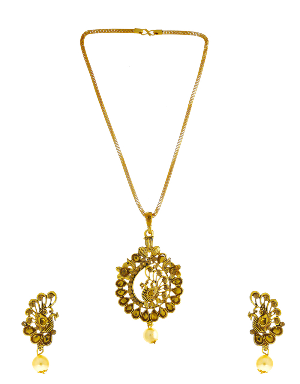 Antique Gold Finish Peacock Design Traditional Pendant Set
