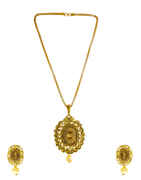 Designer Gold Finish Studded With Stones Fancy Pendant Set