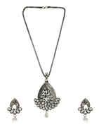 Silver Oxidised Finish Stylish Pendant Set For Women