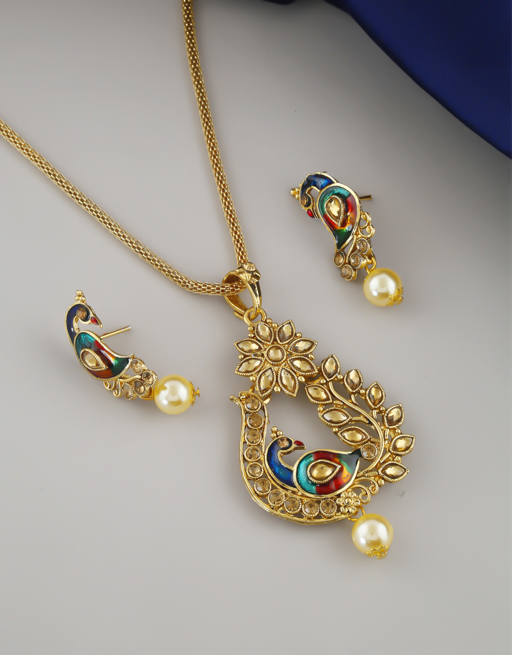 Peacock Design Gold Finish Fancy Traditional Chain Pendant Set