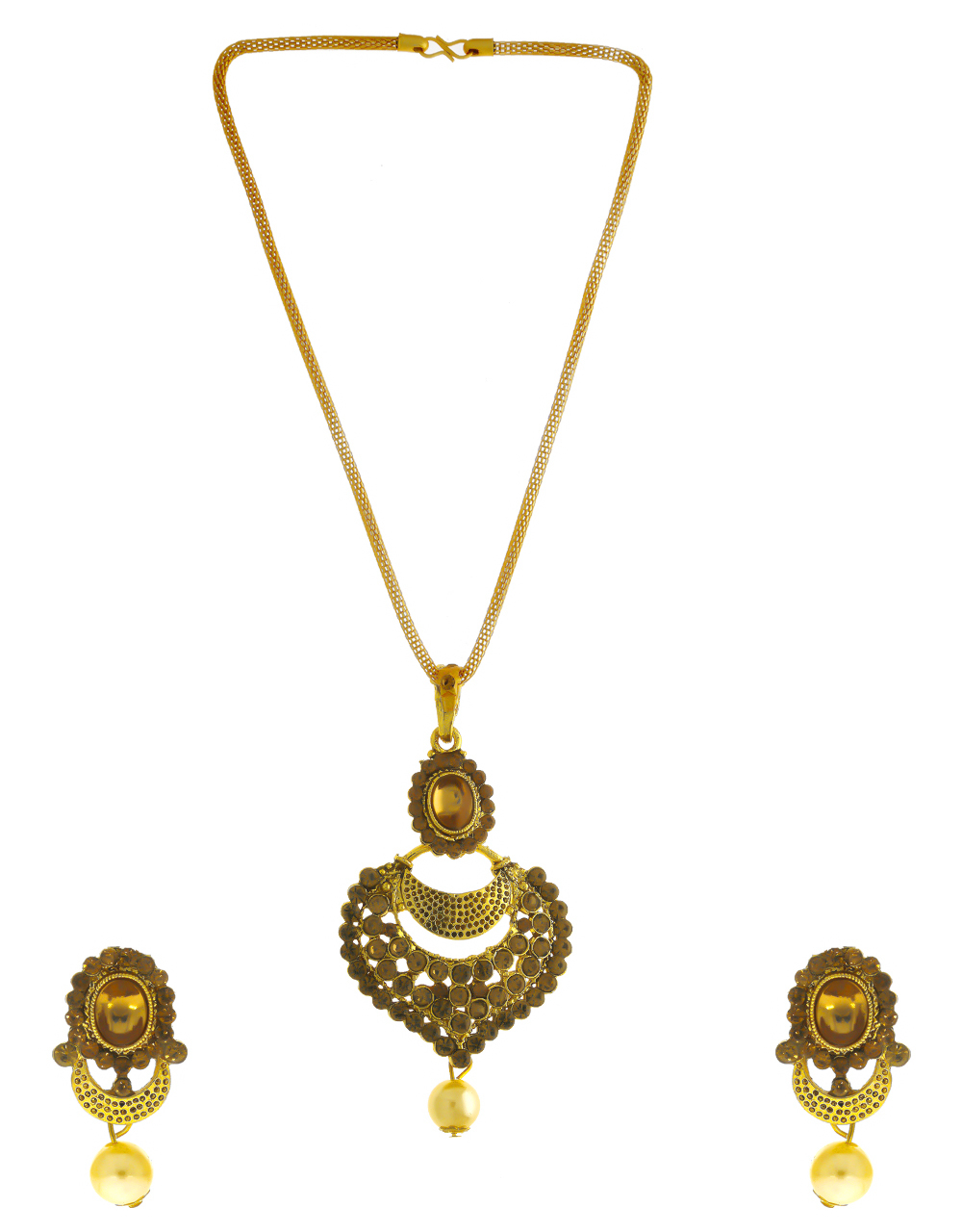 Traditional Antique Gold Finish Stunning Pendant Set For Fancy Wear