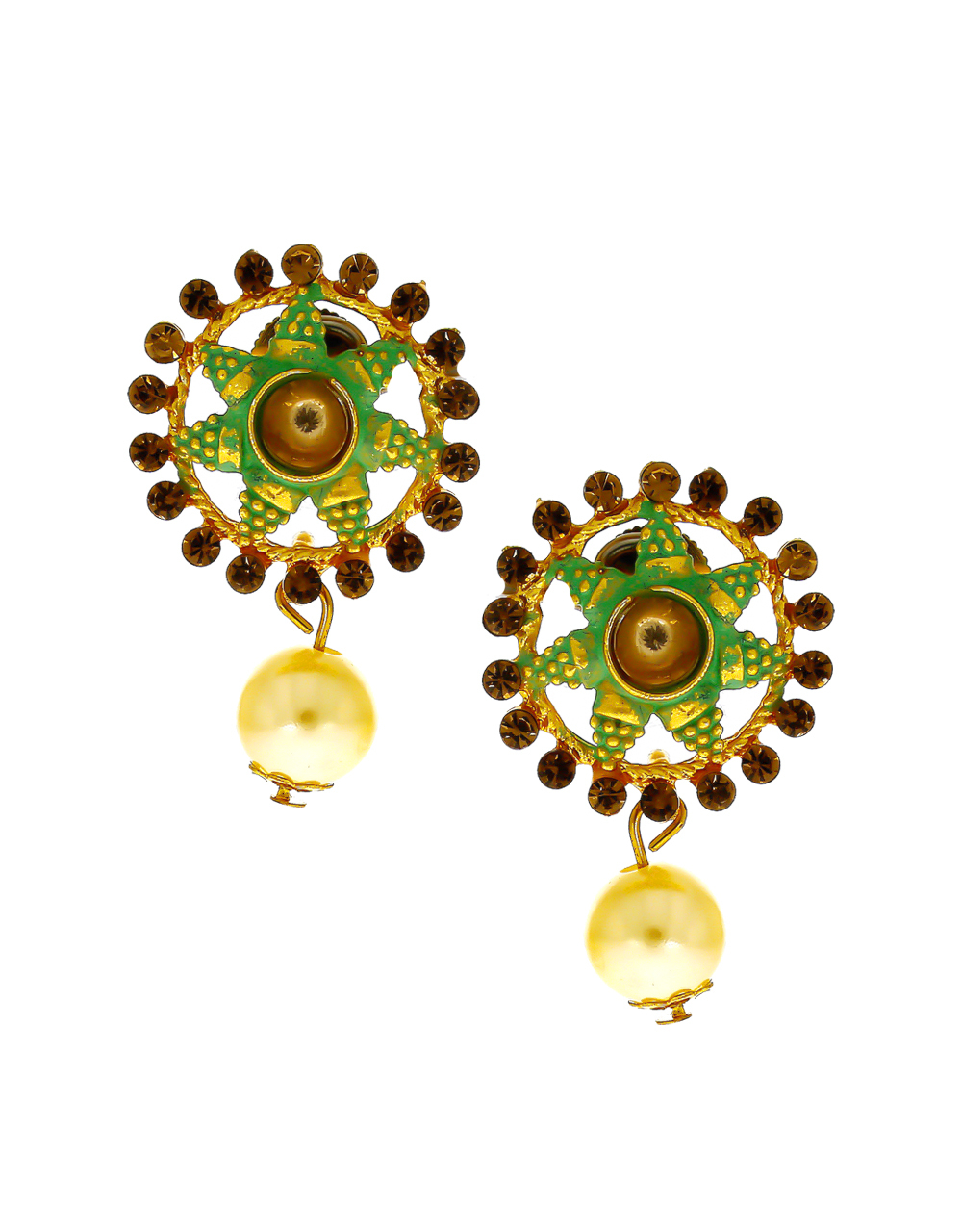 Green Colour Antique Gold Finish Wedding Jewellery