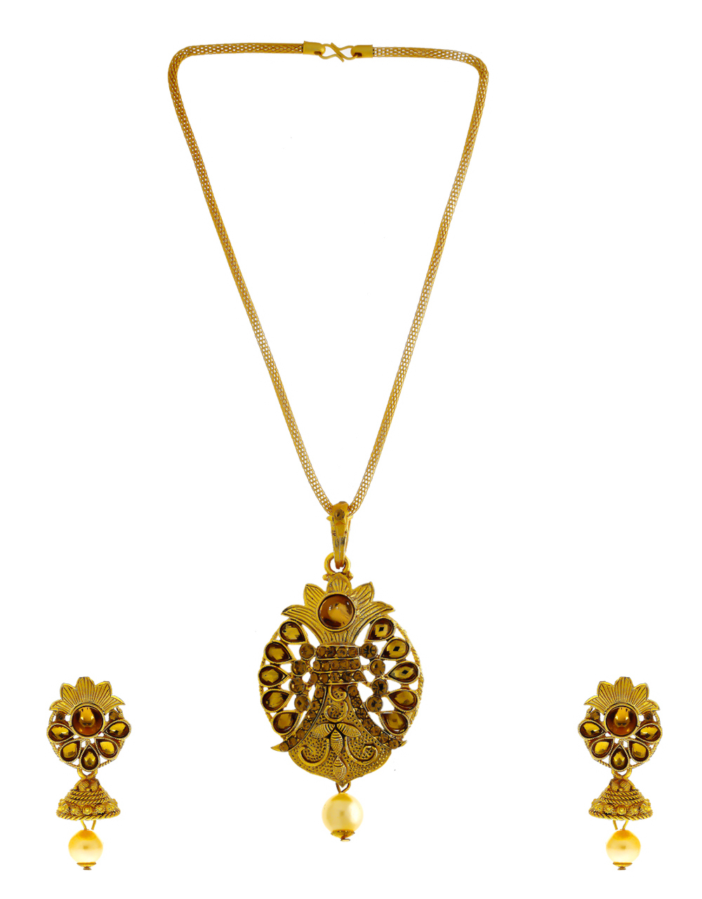 Simple Gold Finish Stunning Traditional Pendant Set
