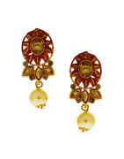 Red Colour Gold Finish Floral Design Pendant Set