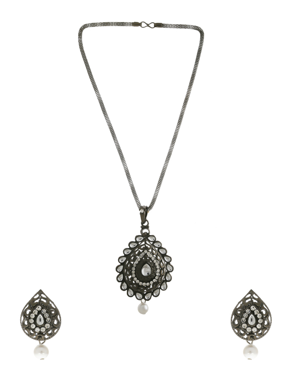 Oxidised Silver Finish Stylish Pendant Set For Women