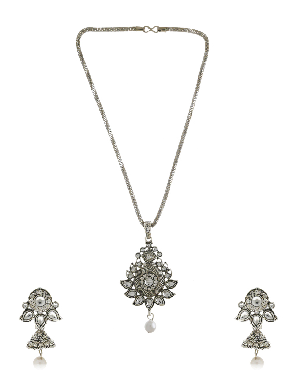 Silver Finish Simple Stunning Pendant Set