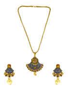 Blue Colour Antique Gold Finish Traditional Pendant Set