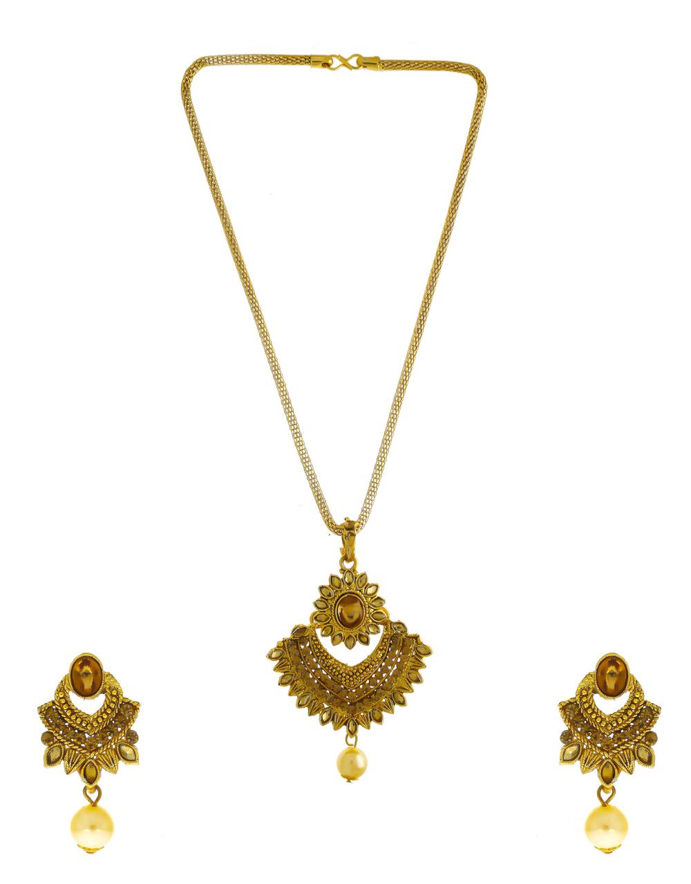 Floral Design Gold Finish Stunning Traditional Pendant Set