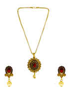 Red Colour Antique Gold Finish Traditional Fancy Chain Pendant Set