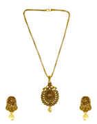 Designer Gold Finish Stunning Fancy Pendant Set For Girls