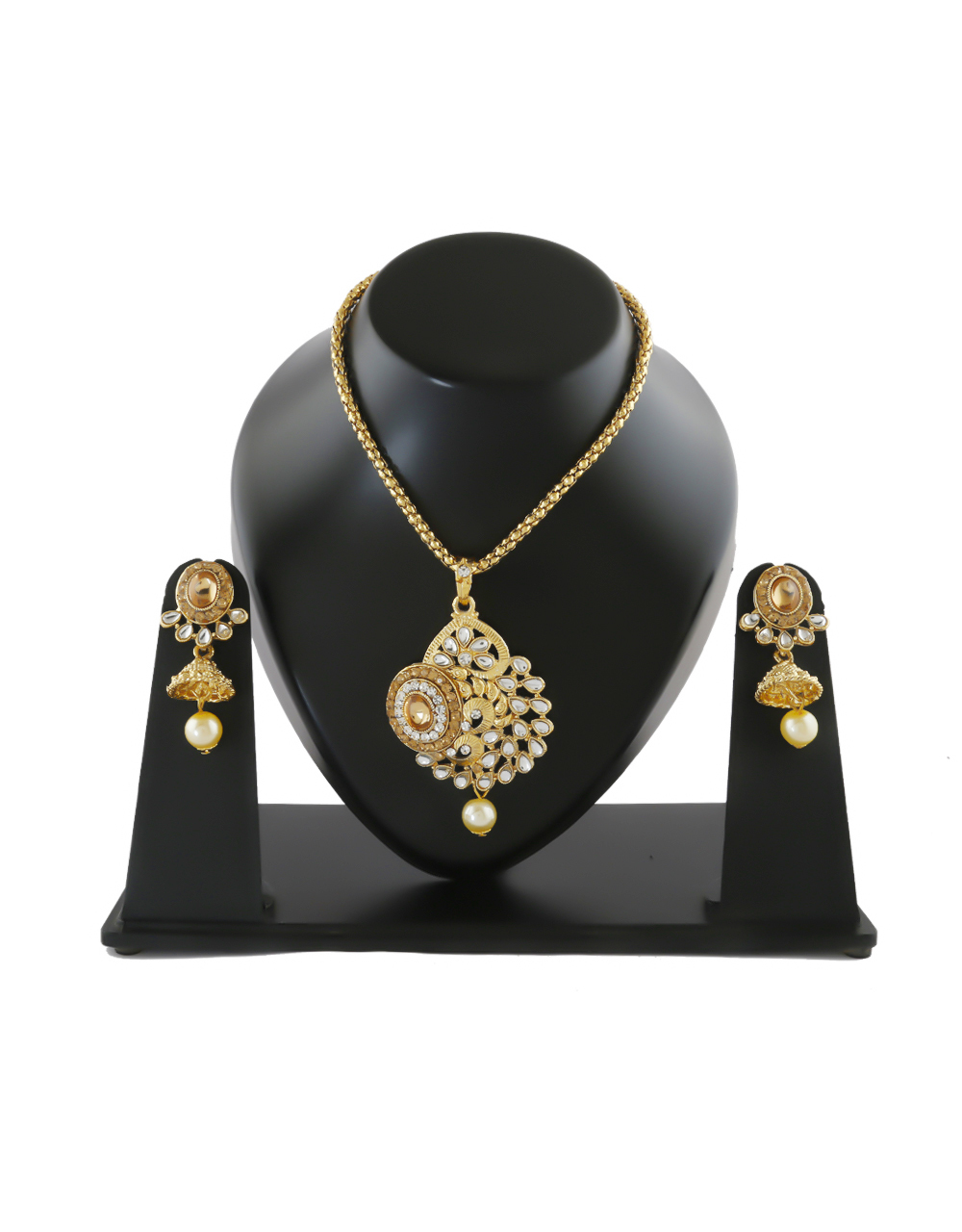 Gold Finish Studded With Stones Pendant Set For Girls