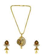 Gold Finish Designer Traditional Chain Pendant Set