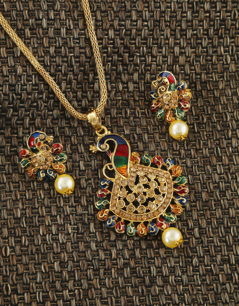 Peacock Design Gold Finish Traditional Pendant Set