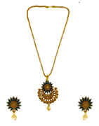 Blue Colour Gold Finish Floral Design Fancy Pendant Set