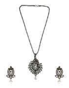 Silver Oxidised Finish Stunning Fancy Pendant Set For Girls
