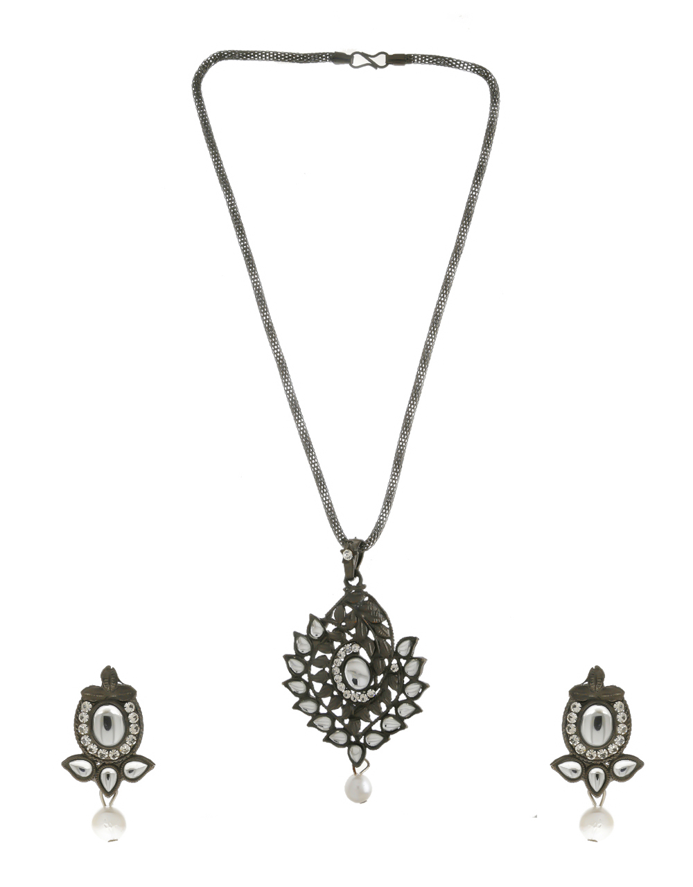 Silver Oxidised Finish Stunning Fancy Pendant Set For Girls