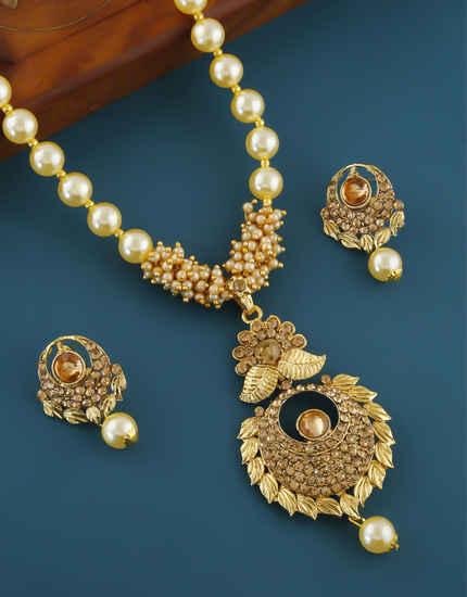 Floral Design Antique Gold Finish Stunning Pendant Set