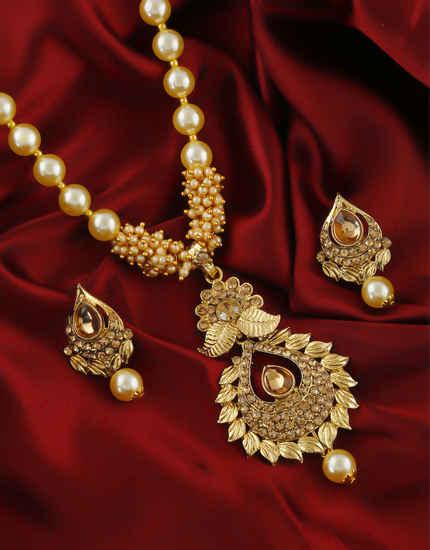 Traditional Gold Finish Floral Design Pendant Set