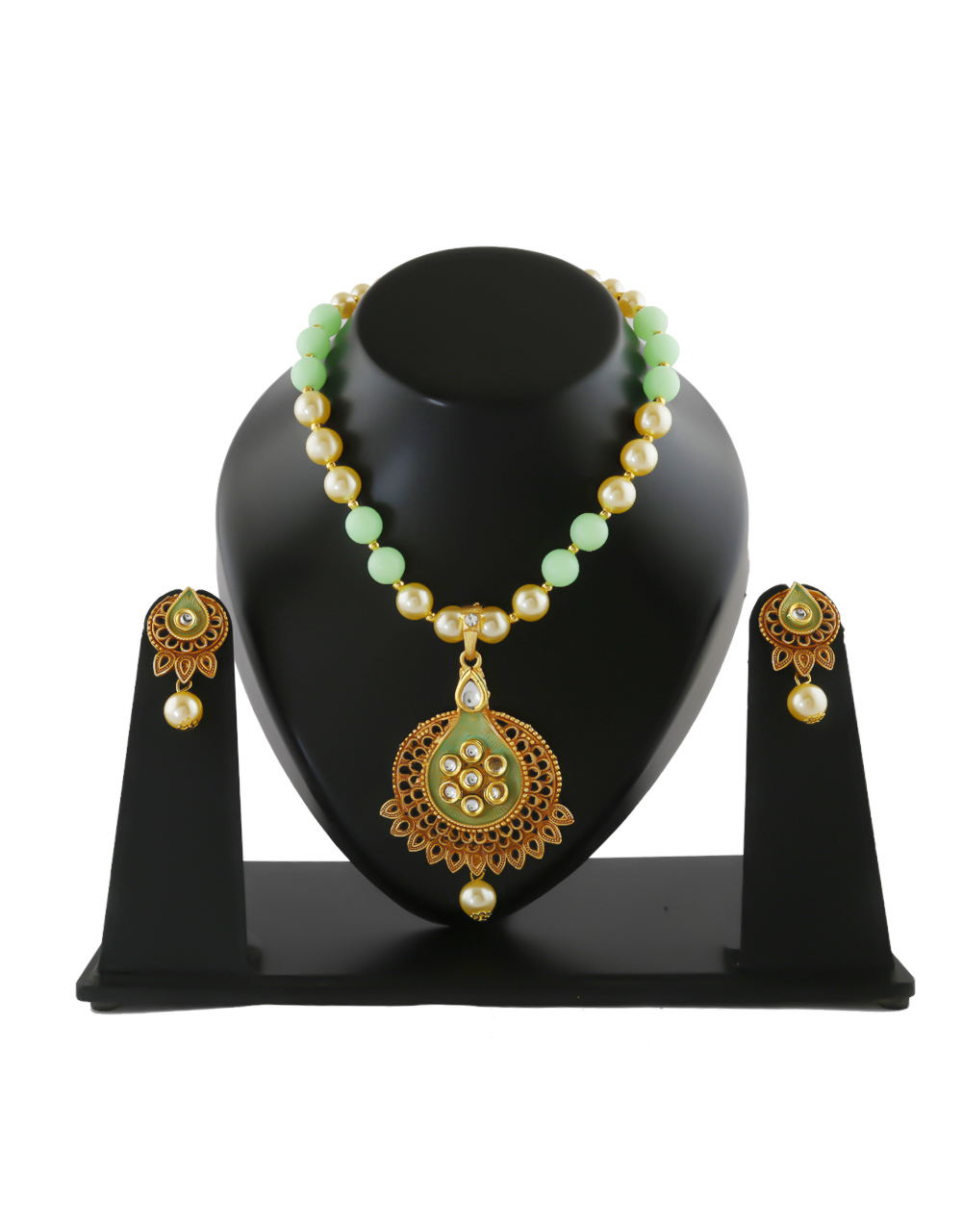 Green Colour Gold Finish Kundan Pendant Set