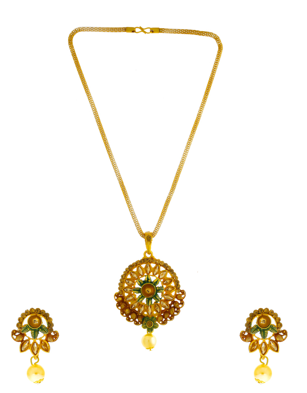 Green Colour Antique Gold Finish Traditional Pendant Set