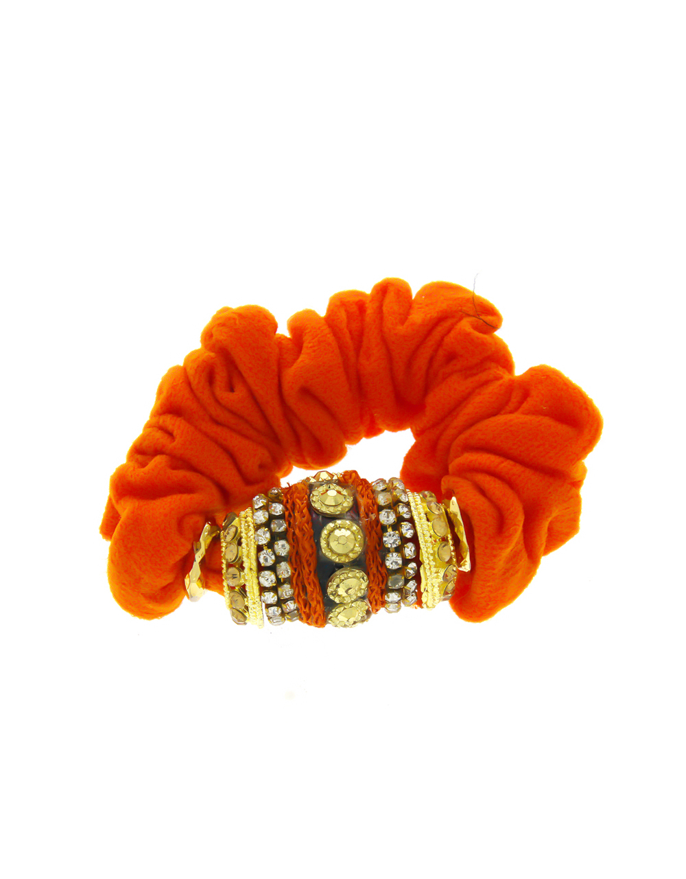 Orange Colour Studded With Stones Hair Band